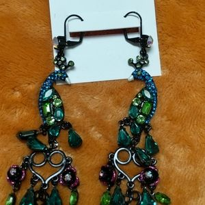 Betsey Johnson crystal peacock earrings